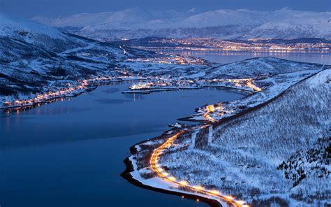 Lichter Der Stadt Tromsö, Norwegen, Winter-nacht 1920x1200