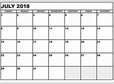 July 2018 Calendar With Holidays Free Printable Templates