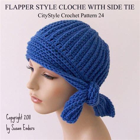 crochet hat pattern flapper style cloche  side tie easy