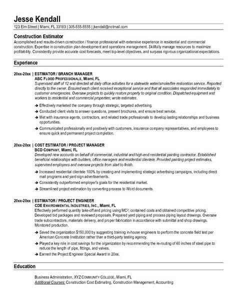 free construction estimator resume exle