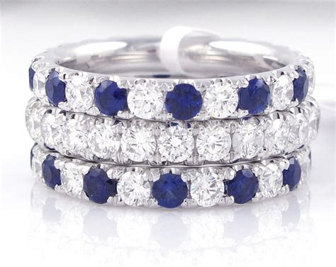 stackable diamond sapphire rings  colorful stack