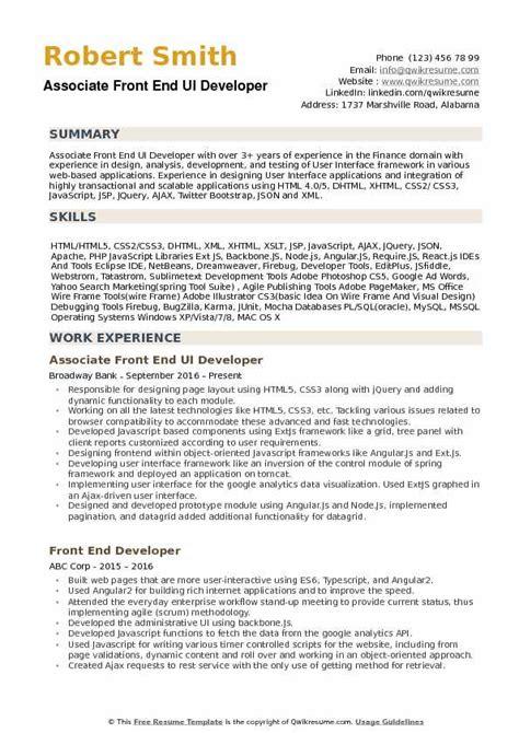 Ui Developer Resume Pdf by Front End Ui Developer Resume Sles Qwikresume