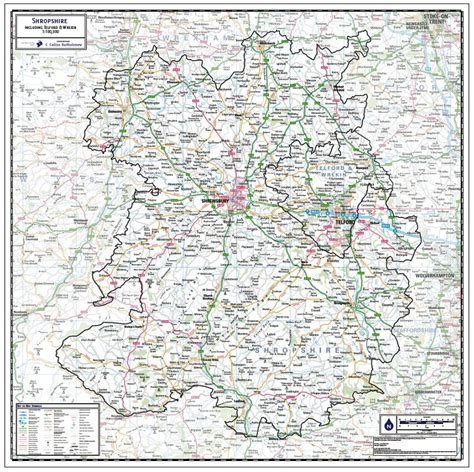 Shropshire County Wall Map - Paper, Laminated or Mounted ...