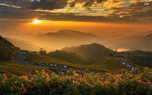 1920x1200 Peaks Flowers Road Cars Sunset desktop PC and ...