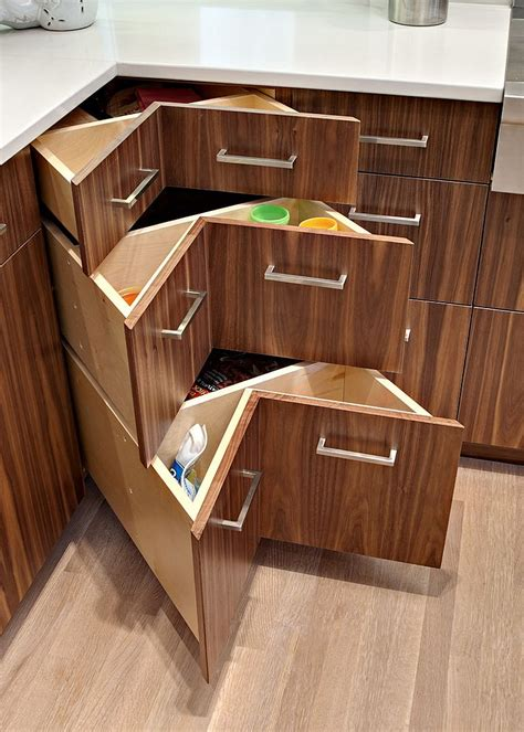 L Shaped Kitchen Ideas - 30 corner drawers and storage solutions for the modern kitchen