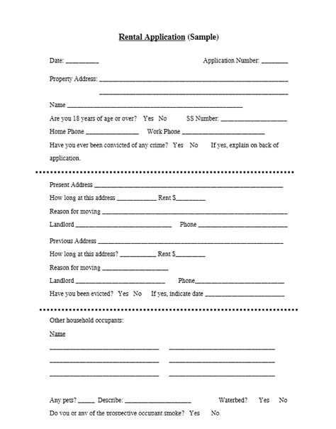 free basic rental application template printable lease agreement