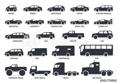 Car Type Icons Set. Model Automobile. Vector Black