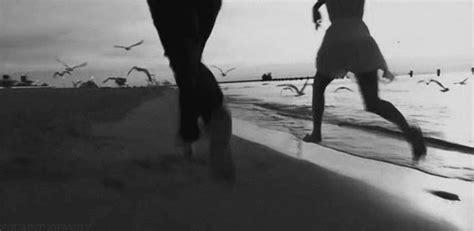 Running On The Beach Love Cute Black And White Beach Ocean