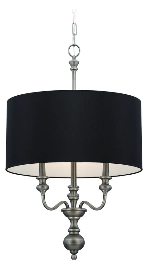 Black Chandelier Shade by Craftmade Three Light Antique Nickel Black Shade Drum