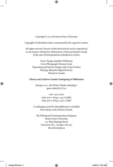 iv copyright page emerge  writers studio anthology