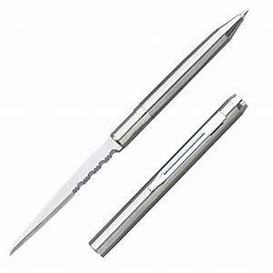 Ink Pen Knife with Partially Serrated Edge - Silver Finish