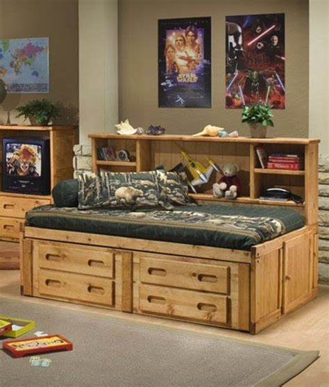 details  solid wood bookcase twin size captains bed