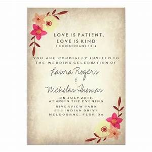 christian bible verse rustic country floral 5x7 paper With wedding invitation wording with bible quotes