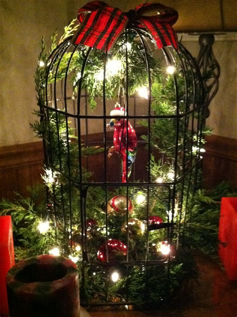 decorated bird cages  christmas bird cages