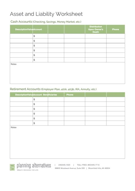 asset and liability worksheet template printable pdf