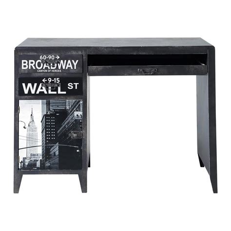 bureau metal ikea printed black industrial desk wall maisons du monde