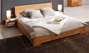 Lit En 180 : lit bois design naturel huil zenno chambre coucher ~ Teatrodelosmanantiales.com Idées de Décoration