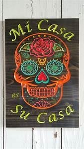 Mi Casa Is Su Casa : mi casa es su casa sugar skull art wood by greencottagedesign decorations ~ Eleganceandgraceweddings.com Haus und Dekorationen