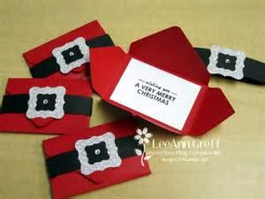 santa s belt gift card holders with envelope punch board it starts with a 5 quot square of real red