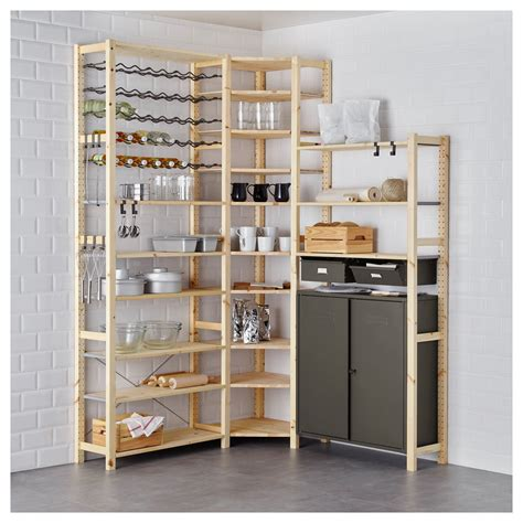ivar  section shelving unit wcabinets pine gray