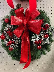 Artificial, Wreath, With, Red, Foil, Bow, And, Frosted, Berry, And, Pine, Cone, Picks