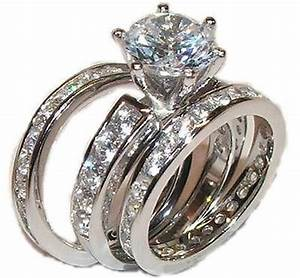 3 piece cz wedding engagement wedding ring set sterling for Low cost wedding ring sets