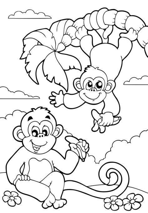 tiere für kinderzimmer ausmalbilder dschungel ausmalbilder affe malen