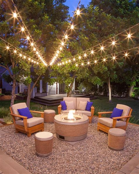 Modern backyards with outdoor fire place, Rattan furniture