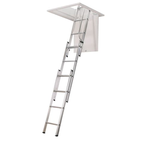 aluminium attic ladder 3 section 3 section loft ladder with handrail suitable for upto 3 metres