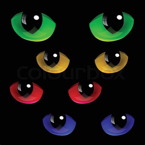 set  cat eyes   colors stock vector colourbox