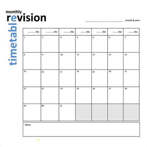 Blank Revision Timetable Template by 9 Sle Timetables Sle Templates