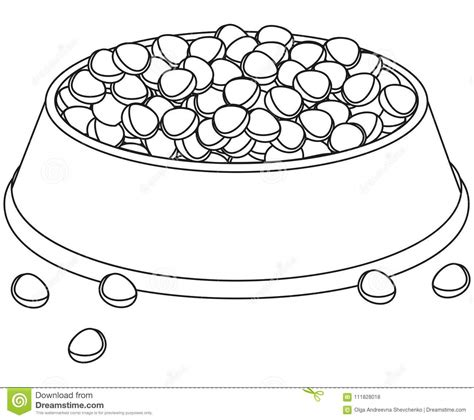 Line Art Black And White Full Pet Food Bowl. Stock ...