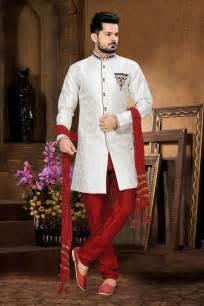 Buy trendy mens wedding suits online White Indian mens wedding sherwani