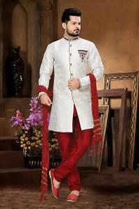 Wedding wear white indian men39s sherwani in jacquard for How to dress for a wedding men