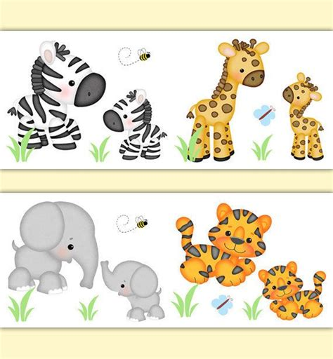 Baby Jungle Animals Wallpaper Border - 1000 images about nursery wallpaper border on