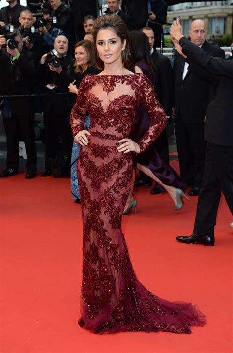 burgundy lace dress cannes festival 2013 cheryl cole steps out in
