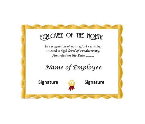 Employee Of The Month Certificate Template by 30 Printable Employee Of The Month Certificates