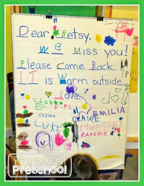 shared writing lesson preschoolers write  friendly