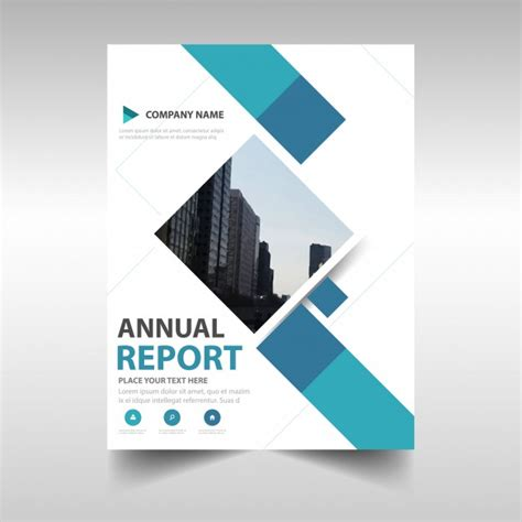 free annual report blue creative annual report book cover template vector