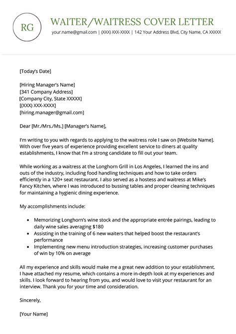 Cover Letter Waiter Without Experience by Waiter Waitress Cover Letter Sle Free