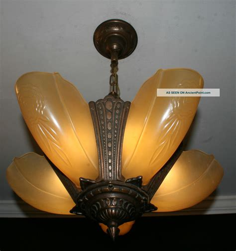 antique vintage 5 light slip shade deco light fixture
