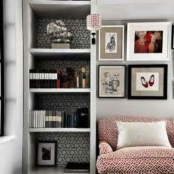 shelves in living room corner small space ideas