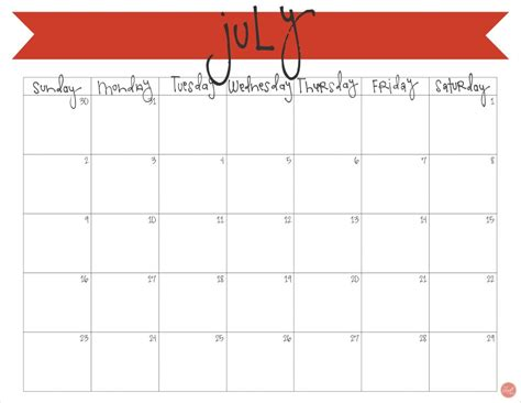 july calendar printable craft eat