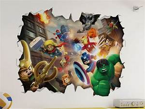 marvel lego 3d look wall vinyl sticker avengers With good look the avengers wall decals
