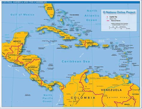 political map  central america   caribbean