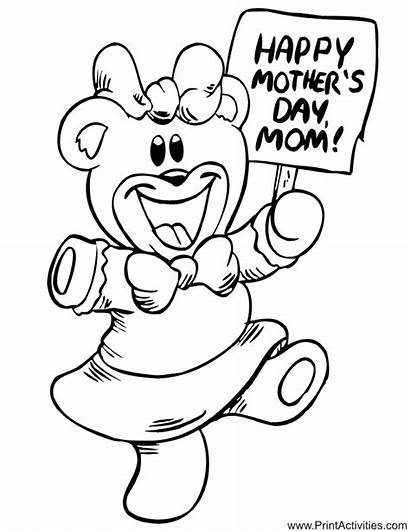 Coloring Mothers Pages Happy Mother Mom Children