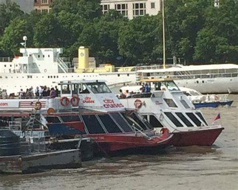 Boat Crash Thames by Thames Passenger Ferry Crashes Into Barge Ybw