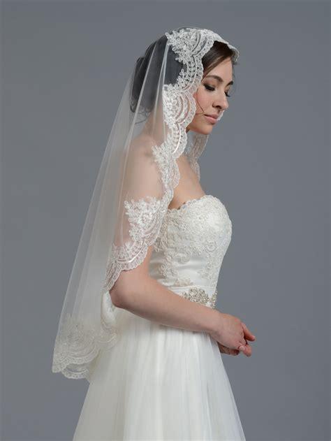Mantilla Bridal Wedding Veil Elbowfingertip V030