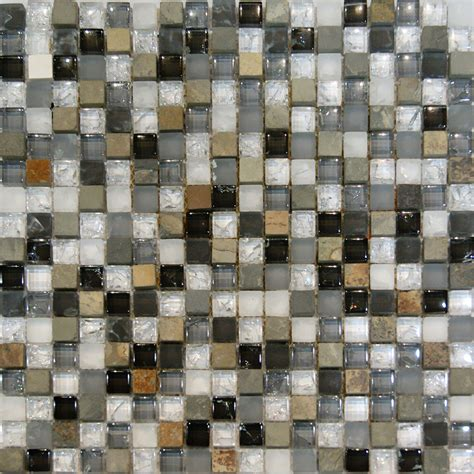 mosaic tiles backsplash kitchen 1sf slate crackle glass white gray beige mosaic