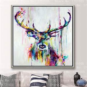 Free shipping colorful cool deer female painting lovely ...